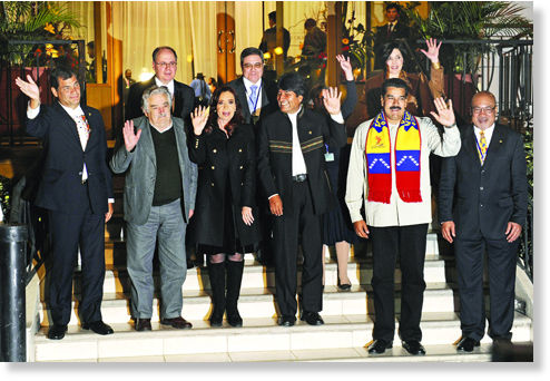 Latin leaders with Evo Morales
