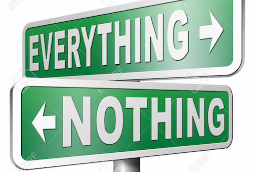 40382244 everything or nothing win or lose taking risks success or failure want it all inclusive or nothing r Stock Photo